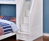 Allen House Twin over Full Storage Loft Bed with Stairs White | Allen House | AH-MULTI-TF-01
