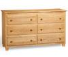 Atlantic 6 Drawer Dresser Natural Maple | Atlantic Furniture | ATL-C-68655