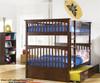 Columbia Full over Full Bunk Bed Antique Walnut   Atlantic Furniture   ATLCOL-FF-AW