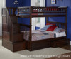 Columbia Full Bunk Bed with Staircase Antique Walnut | 24385 | ATLCOL-SSFF-AW