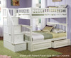 Columbia Full Bunk Bed with Staircase White | 24388 | ATLCOL-SSFF-WH
