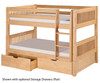 Camaflexi Low Bunk Bed Twin Size Natural | 24605 | CF-E2011