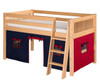 Camaflexi Low Loft Bed with Blue Tent Twin Size Natural | Camaflexi Furniture | CF-E411T