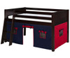 Camaflexi Low Loft Bed with Blue Tent Twin Size Natural | 24657 | CF-E411T