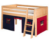 Camaflexi Low Loft Bed with Blue Tent Twin Size Cappuccino | 24679 | CF-E422T