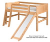 Camaflexi Low Loft Bed with Slide Twin Size Natural | Camaflexi Furniture | CF-E511