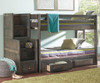 Wrangle Hill Full over Full Bunk Bed with Stairs Gun Smoke | Coaster Furniture | CS400833-34-SM-46bunky