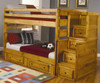 Wrangle Hill Full over Full Bunk Bed with Stairs Amber Wash | Coaster Furniture | CS460096-98-Sm-46bunky