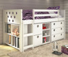 Circles Low Loft Bed with Storage Twin Size White   Donco Trading   DT780ATWX
