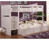 Cambridge Twin over Full Stair Stepper Bunk Bed White | Discovery World Furniture | DWF0214-FULL
