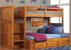 Honey Mission Twin over Full Stair Stepper Bunk Bed | Discovery World Furniture | DWF2114-FULL-CL