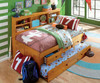 Honey Twin Size Bookcase Captain's Day Bed with Trundle