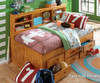 Honey Full Size Bookcase Captain's Day Bed with Trundle | Discovery World Furniture | DWF2123-3DRTR