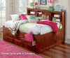 Merlot Full Size Bookcase Captain's Day Bed with Trundle | 25114 | DWF2823-3DRTR