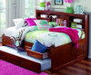 Merlot Full Size Bookcase Captain's Day Bed with Trundle