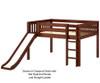 Maxtrix AMAZING Low Loft Bed with Slide Full Size Chestnut   26129   MX-AMAZING-CX