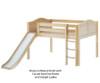 Maxtrix AMAZING Low Loft Bed with Slide Full Size Chestnut   Maxtrix Furniture   MX-AMAZING-CX