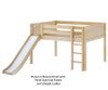 Maxtrix AMAZING Low Loft Bed with Slide Full Size Natural | 26130 | MX-AMAZING-NX