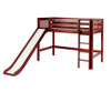 Maxtrix AWESOME Mid Loft Bed with Slide Twin Size Chestnut | Maxtrix Furniture | MX-AWESOME-CX