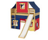 Maxtrix AWESOME Mid Loft Bed with Tent & Slide Twin Size Natural 2 | Maxtrix Furniture | MX-AWESOME29-NX