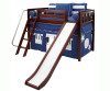 Maxtrix Mid-Height Loft Bed with Slide and Curtains - Chestnut | 26150 | MX-AWSOME-CX