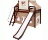 Maxtrix Mid-Height Loft Bed with Slide and Curtains - Chestnut | Matrix Furniture | MX-AWSOME-CX