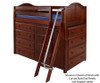 Maxtrix BLING Mid Loft Bed w/ Dressers Twin Size Chestnut   26154   MX-BLING-CX