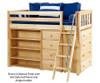 Maxtrix BLING Mid Loft Bed w/ Dressers & Bookcase Twin Size Chestnut | Maxtrix Furniture | MX-BLING2-CX