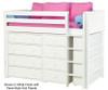 Maxtrix BLING Mid Loft Bed w/ Dressers & Bookcase Twin Size Natural | 26159 | MX-BLING2-NX