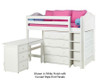 Maxtrix BLING Mid Loft Bed w/ Storage and Desk Twin Size Chestnut | 26161 | MX-BLING3L-CX