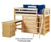 Maxtrix BLING Mid Loft Bed w/ Storage and Desk Twin Size White | Maxtrix Furniture | MX-BLING3L-WX