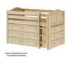 Maxtrix BOX Low Loft Bed w/ Dressers Twin Size Chestnut | Maxtrix Furniture | MX-BOX-CX
