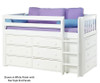 Maxtrix BOX Low Loft Bed w/ Dressers Twin Size White | 26167 | MX-BOX-WX