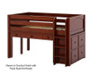 Maxtrix BOX Storage Low Loft Bed with Desk Twin Size Chestnut | 26168 | MX-BOX10-CX