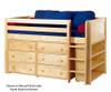 Maxtrix BOX Low Loft Bed w/ Dresser & Bookcase Twin Size Chestnut | Maxtrix Furniture | MX-BOX2-CX