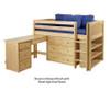 Maxtrix BOX Low Loft Bed w/ Storage & Desk Twin Size Natural | 26178 | MX-BOX3L-NX