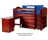 Maxtrix BOX Low Loft Bed w/ Storage & Desk Twin Size Natural | Maxtrix Furniture | MX-BOX3L-NX