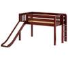 Maxtrix BRAINY Low Loft Bed with Slide Twin Size Chestnut | Maxtrix Furniture | MX-BRAINY-CX