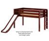 Maxtrix BRAINY Low Loft Bed with Slide Twin Size Chestnut | 26180 | MX-BRAINY-CX