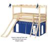 Maxtrix CAMELOT Castle Low Loft Bed with Slide Twin Size Chestnut | Maxtrix Furniture | MX-CAMELOT5-CX