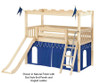 Maxtrix CAMELOT Castle Low Loft Bed with Slide Twin Size Natural | 26191 | MX-CAMELOT7-NX