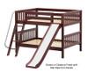 Maxtrix CLIFF Low Bunk Bed w/ Slide Full Size Chestnut   26206   MX-CLIFF-CX