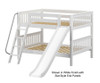 Maxtrix CLIFF Low Bunk Bed w/ Slide Full Size White | 26208 | MX-CLIFF-WX