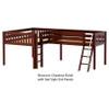 Maxtrix DUET Corner Low Loft Bed Full Size Chestnut | 26228 | MX-DUET-CX