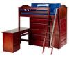 Maxtrix EMPEROR High Loft Bed with Desk Twin Size Chestnut | Maxtrix Furniture | MX-EMPEROR1L-CX