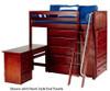Maxtrix EMPEROR High Loft Bed with Desk Twin Size Chestnut | 26239 | MX-EMPEROR1L-CX