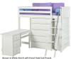 Maxtrix EMPEROR High Loft Bed with Desk Twin Size White | 26242 | MX-EMPEROR3L-WX