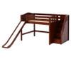 Maxtrix FINE Mid Loft Bed with Stairs and Slide Full Size Chestnut | Maxtrix Furniture | MX-FINE-CX