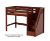 Maxtrix GALANT Mid Loft Bed with Stairs Twin Size Chestnut | 26291 | MX-GALANT-CX