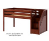 Maxtrix GREAT Low Loft Bed with Stairs Twin Size Chestnut | 26322 | MX-GREAT-CX